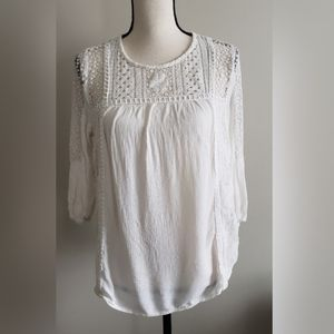Knox Rose Cream Lace Tunic Top Large